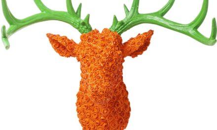 Vægdekoration Antler Deer Roses Orange Grøn