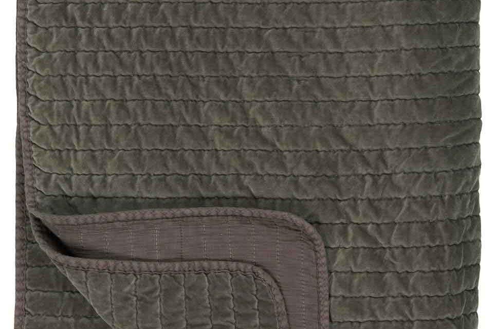 IB LAURSEN Quilt sengetæppe – jordfarvet velour