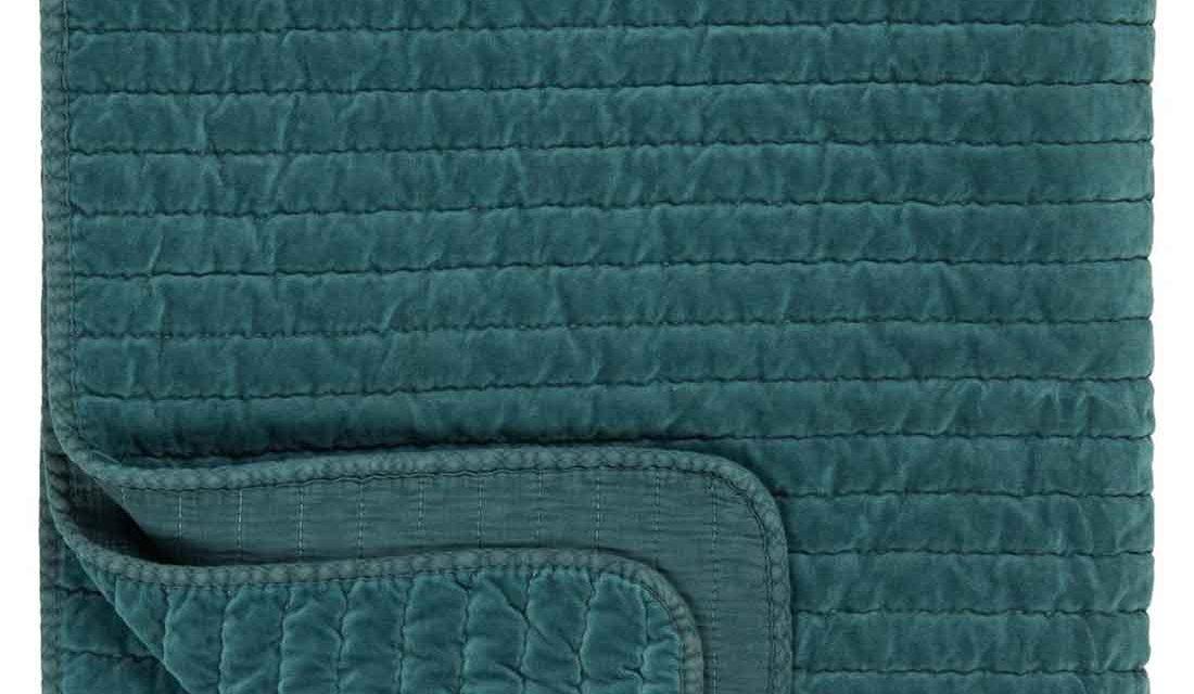 IB LAURSEN Quilt sengetæppe – petrolfarvet velour
