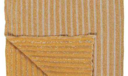 IB LAURSEN Strikket plaid – sennep og beige farvet bomuld