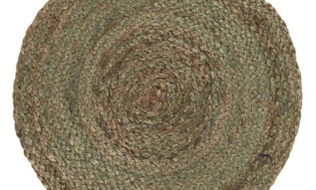 IB LAURSEN Dækkeserviet – olivengrøn jute, rund (Ø35)