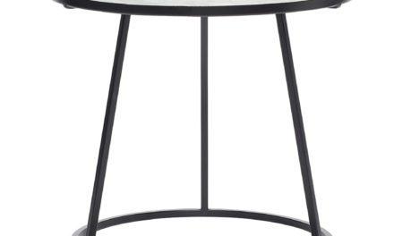 HÜBSCH Marmor bord m/sort metal stel, sort/hvid
