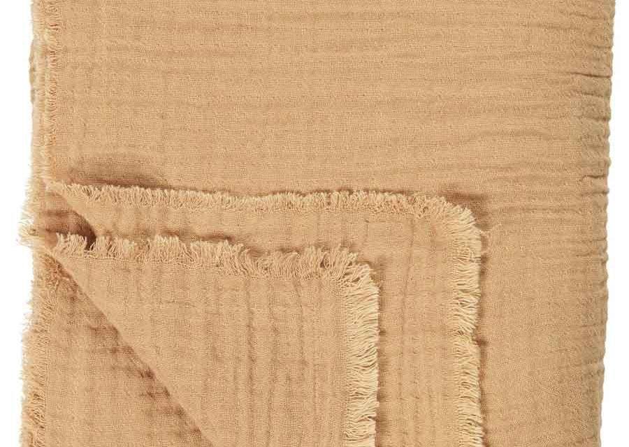 IB LAURSEN Dobbeltvævet plaid – sennepsfarvet bomuld