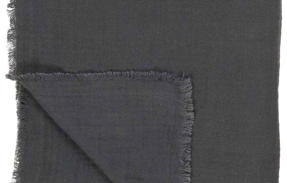 IB LAURSEN Dobbeltvævet plaid – mørkegrå bomuld