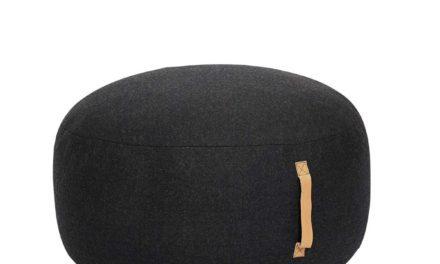 HÜBSCH Rund puf i uld m/læderhank, mørkegrå