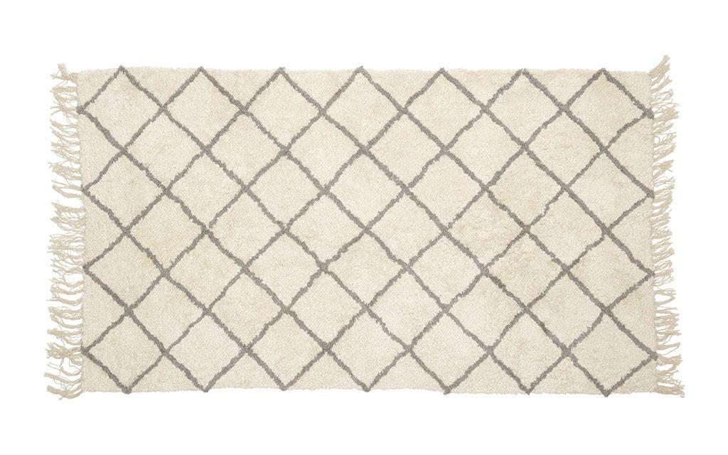 HÜBSCH Tæppe i bomuld, hvid/grå