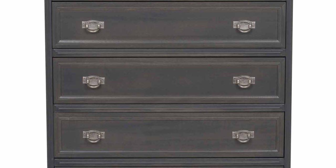 Minette kommode – grå, m. 5 skuffer