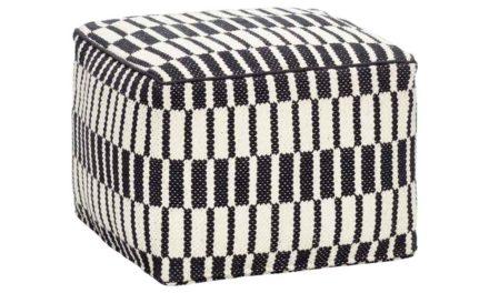 HÜBSCH puf m. mønster – sort/hvid bomuld, kvadratisk