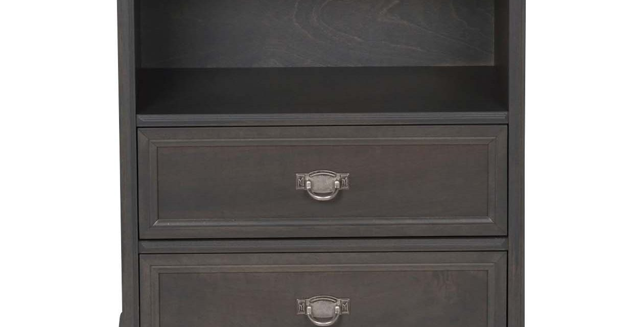 Minette kommode – grå, m. 1 hylde og 2 skuffer