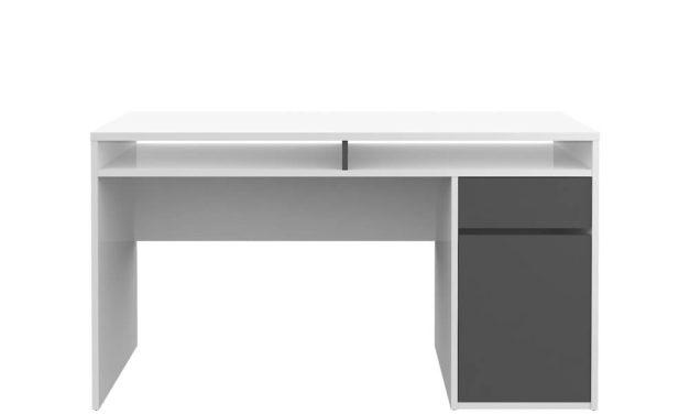 Function Plus skrivebord – hvid/eg højglans