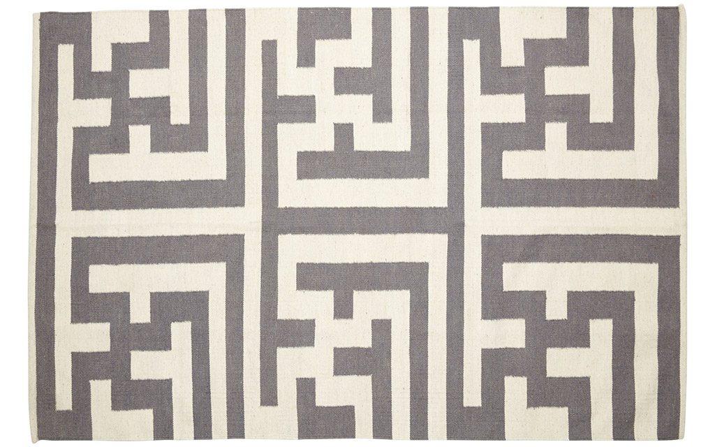 HÜBSCH Vævet tæppe i uld, natur/grå