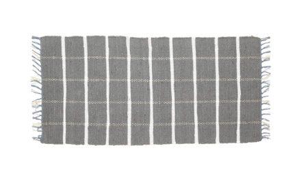 HÜBSCH Vævet tæppe i bomuld, grå/hvid