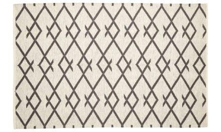 HÜBSCH Vævet tæppe i bomuld, natur/grå