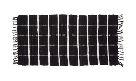 HÜBSCH Vævet tæppe i bomuld, sort/hvid