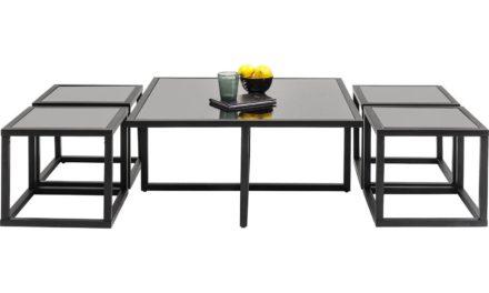 Sofabord Quad Sort 80 x 80 cm (5/Sæt)
