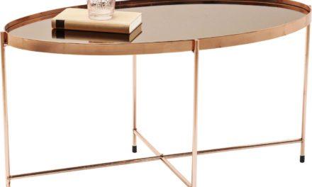 Sofabord Miami Oval Rosegold 83 x 40 cm