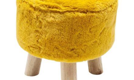 KARE DESIGN Fur skammel – Gul, Ø32 cm