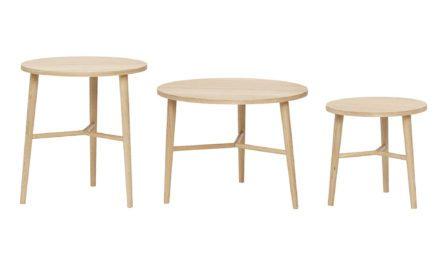 HÜBSCH Rundt Egetræsbord, Natur, 3 stk.