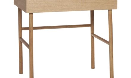 HÜBSCH skrivebord – egetræsfinér, m. opbevaringsrum