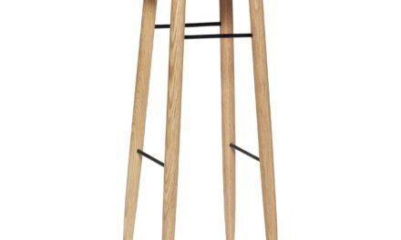 HÜBSCH barstol – natur/sort, egetræ/metal, rund (Ø35)