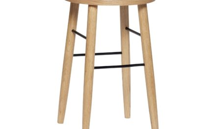 HÜBSCH barstol – egetræ/metal, natur/sort, rund (Ø35)