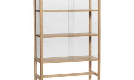 HÜBSCH vitrineskab – hvideg/glas, m. 2 låger og 3 hylder