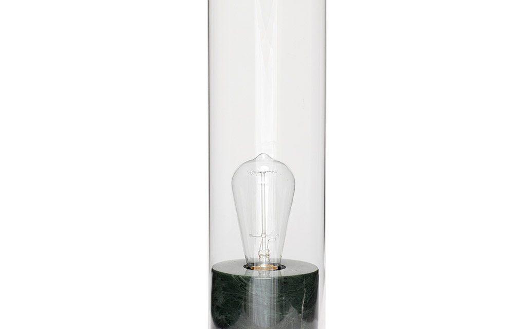 HÜBSCH Bordlampe i marmor/glas, grøn