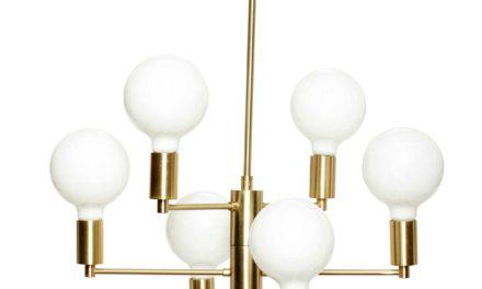 HÜBSCH Lampe i messing/glas, m/pære og kæde