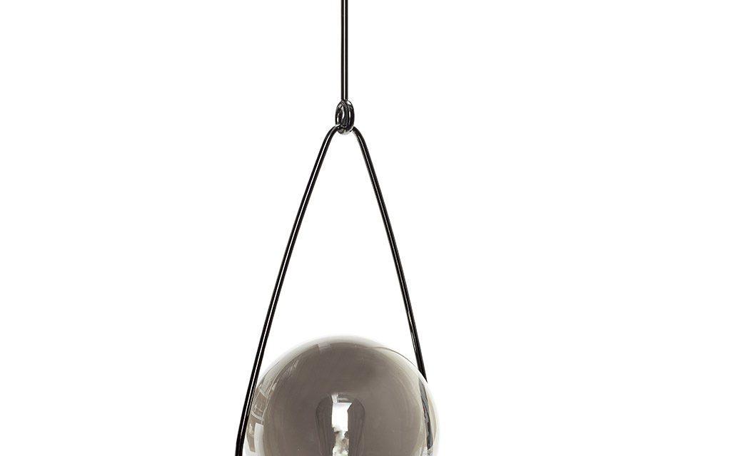 HÜBSCH Lampe i røget glas/metal