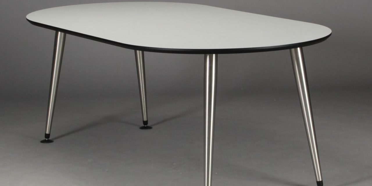 FURBO Spisebord, hvid laminat, satin ben, oval, 100 x 180 cm.