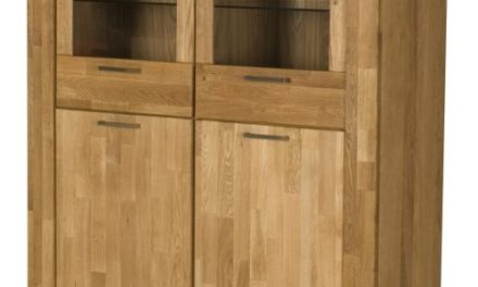 RIVA vitrineskab med 2 glaslåger, Natur