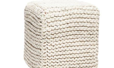 HÜBSCH Firkantet strikket uld puf, grå