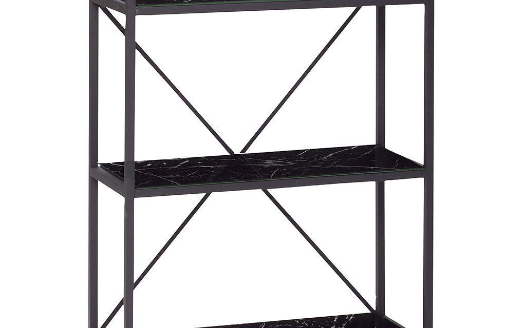 HÜBSCH Reol i metal/glas, m/3 glas hylder, sort