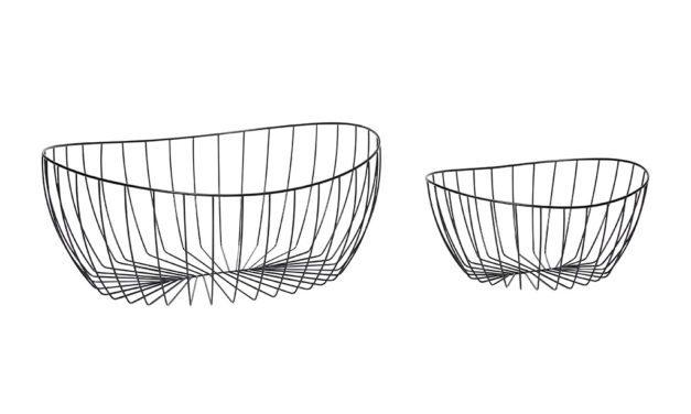 HÜBSCH Trådkurv i metal, sort, 2 stk.