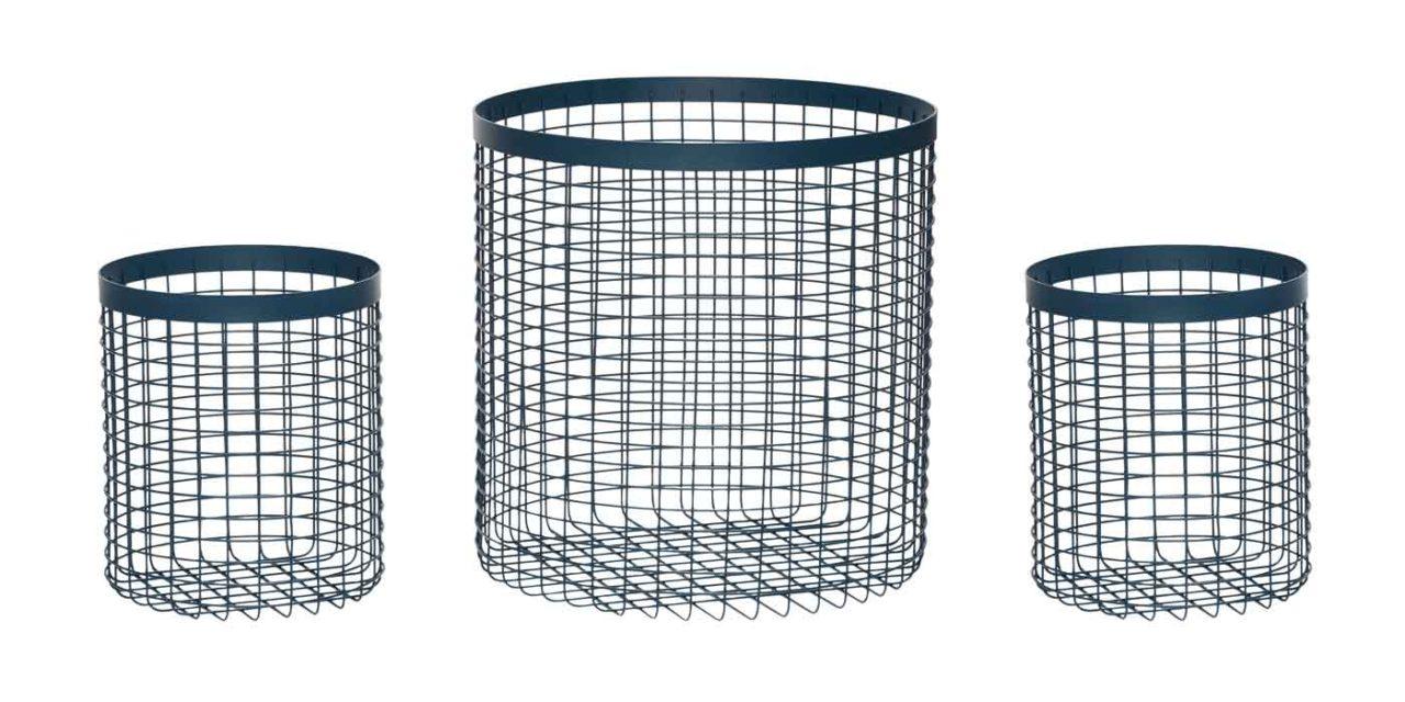 HÜBSCH kurv – blå metal, rund (sæt á 3 stk.)