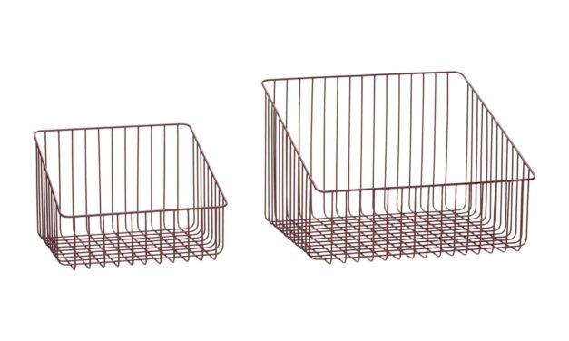 HÜBSCH kurv – rød metal, rektangulær (sæt á 2 stk.)