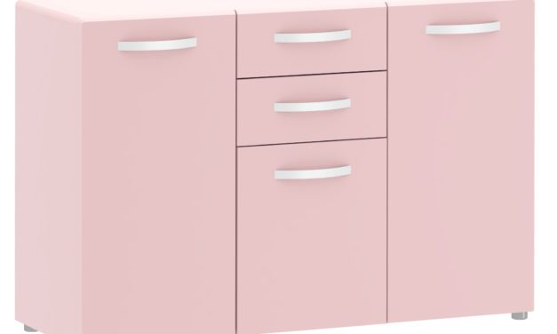 Round skænk i rosa, tre låger + to skuffer, inkl. ben