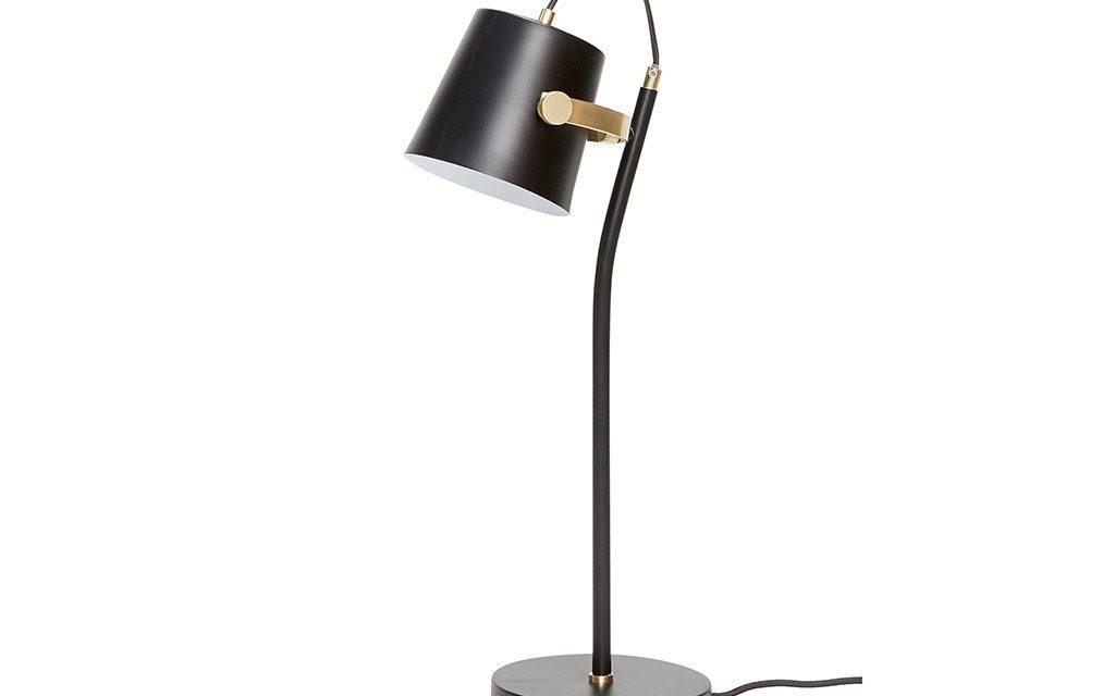 HÜBSCH Bordlampe, metal, sort/messing