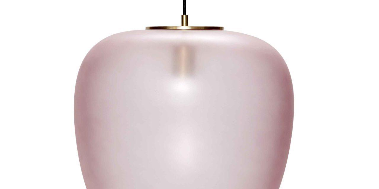 HÜBSCH loftlampe – rosa glas m. messing