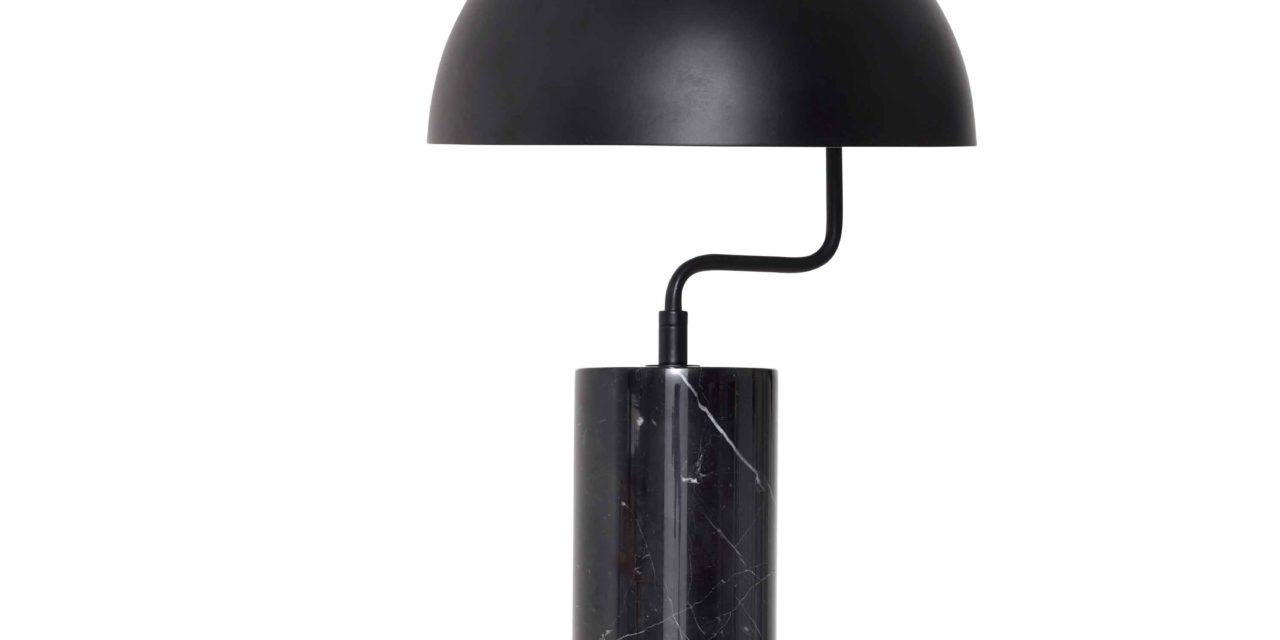 HÜBSCH bordlampe – sort metal/marmor
