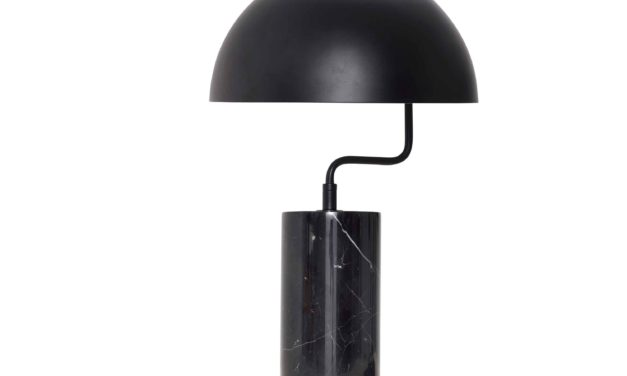 HÜBSCH bordlampe – sort metal/marmor