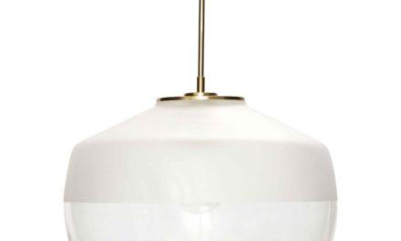 HÜBSCH loftlampe – klart glas/hvidt frosted glas m. messing
