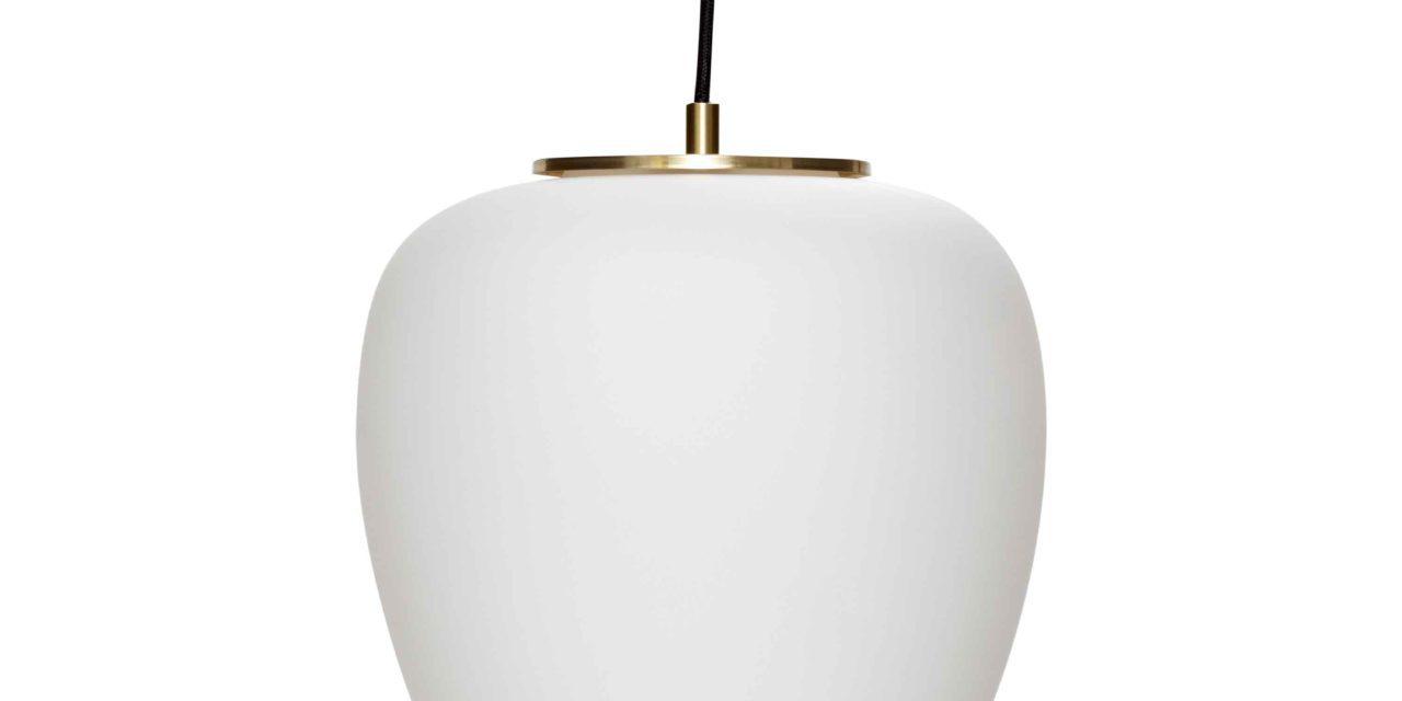 HÜBSCH loftlampe – hvidt glas og messing
