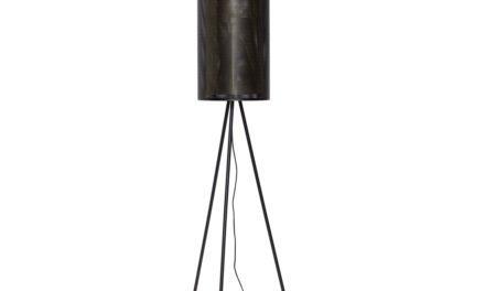 HÜBSCH gulvlampe – sort/messing, metal/glas