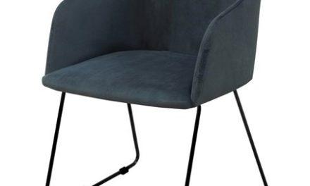 Casablanca spisebordsstol – mørkeblåt stof/sorte metalben, m. armlæn