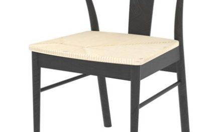 JANIK spisebordsstol – sort egetræ/natur rattan