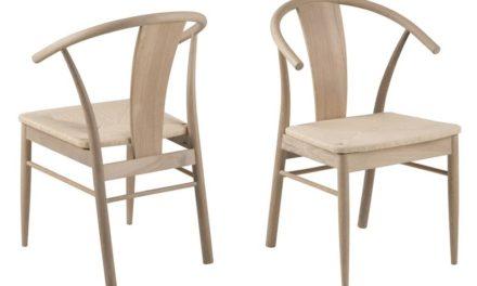 JANIK spisebordsstol – natur egetræ/rattan