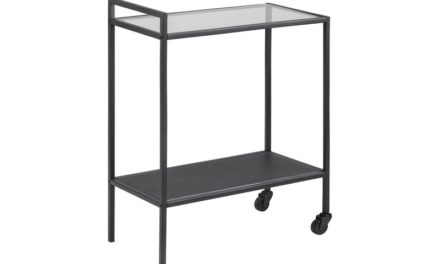 Seaford rullebord – glas/mat sort metal, 2 hjul