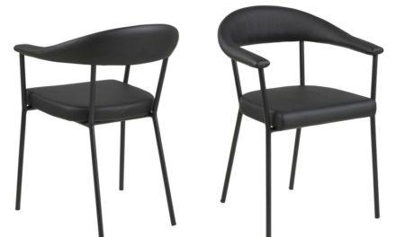 Ava spisebordsstol – sort kunstlæder og metalstel