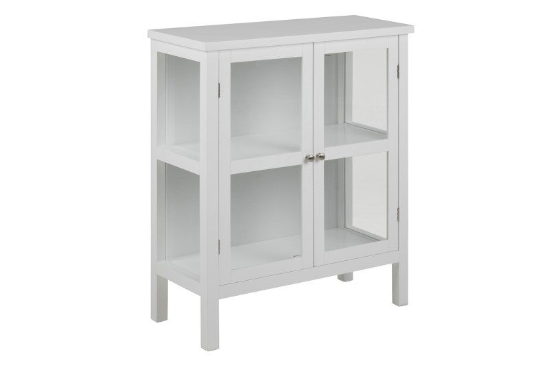 Eton vitrineskab – hvidt træ, 2 glaslåger